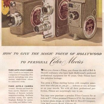 "1948 - Bell & Howell ""Filmo"" Cameras Advertisement - Advertising"