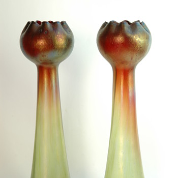 bohemian pair of rindskopf  pepita vase in iridescent  glass.