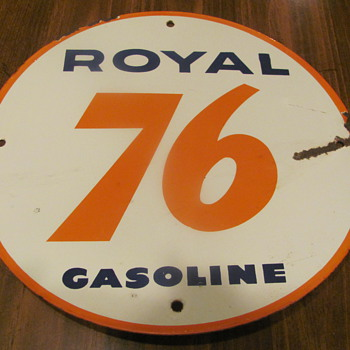 a couple of Union 76 polcelain gas pump plates,front & back
