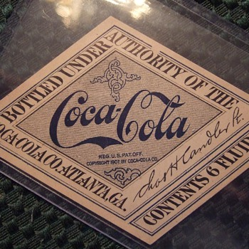 Original 1917-19 Coca-Cola Straight sided bottle label - Coca-Cola