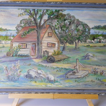"Folk Art Painting, oil on Board""A.Forbes""1898"