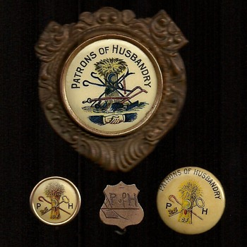 Patrons of Husbandry Pinback Buttons Ribbon and Badge - Medals Pins and Badges