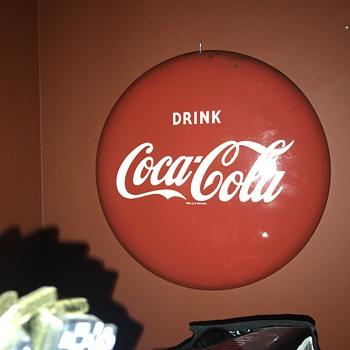 1950's 12 inch Coca Cola button.