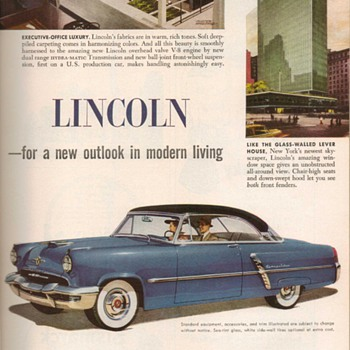 1952 - Lincoln Cosmopolitan Advertisement - Advertising