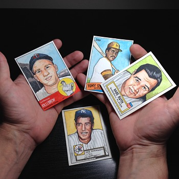 A few of my hand drawn and painted baseball cards