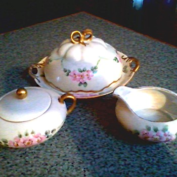 Beautiful Covered Dish with Matching Sugar Bowl and Creamer /Hand Painted by E. Mears Czech & German Porcelain /Circa 1900-1920