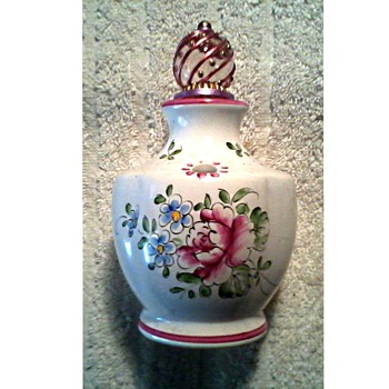 Little Hand Painted French Faience Scent Bottle with Stopper /  Unknown Age