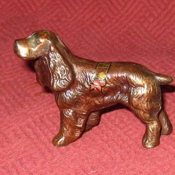 Vintage Bronze Advertisement (Souvenir) Spaniel - Animals