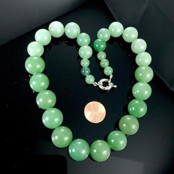 Rare Deco Nephrite Jade Graduated Round Bead Necklace