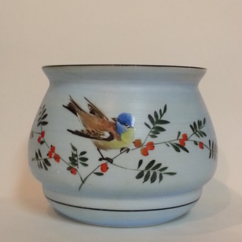 BEAUTIFUL HAND PAINTED Glass  VASE BOWL?
