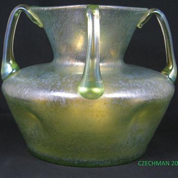 Loetz Candia Ciselé Uranium four handled Punched vase ca 1900 - Art Glass
