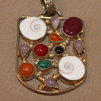 Silver Pendant with Gems and Shells - Fine Jewelry