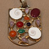 Silver Pendant with Gems and Shells