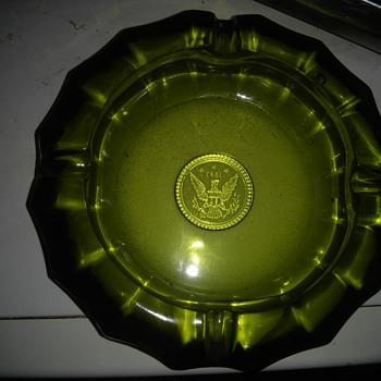 Newly discovered heavy dark green vintage ashtray