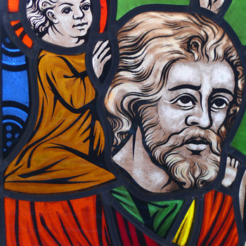 stained glass with reverse glass painting
