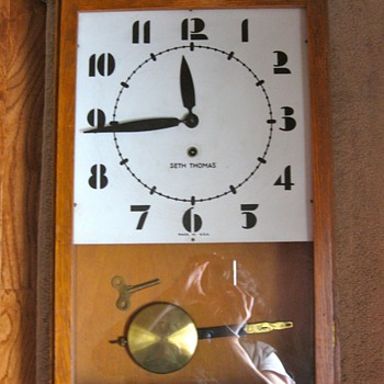 Seth Thomas Oak Art Deco Regulator Clock - Clocks