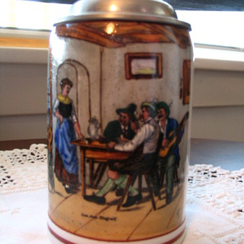 Set of 6 Salt Glaze Steins - ?? Age (Marks altered?) NOT FOR SALE - Breweriana