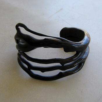 Black coral cuff bracelet