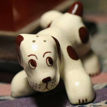 California Pottery Brown and White Spotted Dog S/P Shaker - Kitchen