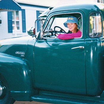 I am ready to take off anyone want a ride in classic 49 truck .