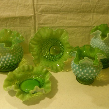 COLLECTION OF RARE FENTON LIME GREEN OPALESCENT HOBNAIL