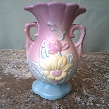 "Hull Art Pottery 4 3/4"" Vase /  #13 Magnolia in Pastel Pink and Blue / Circa 1940"