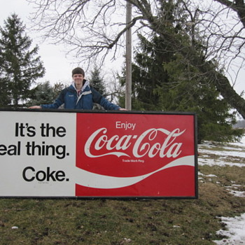 Huge Coca-Cola Tin Sign ( Its The Real Thing )