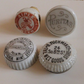 Porcelain Hutter type stoppers-pre bottle cap era