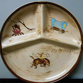 Western-theme divided plate - anyone know the maker? - China and Dinnerware