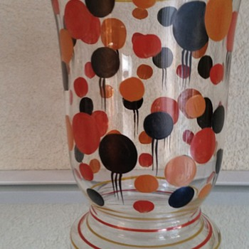 enamel painted art deco vase