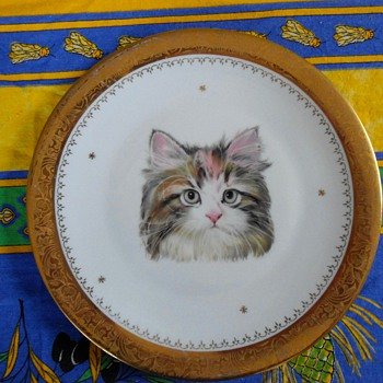 Limoges Cat Plate