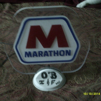 Light up Marathon desk sign - Petroliana