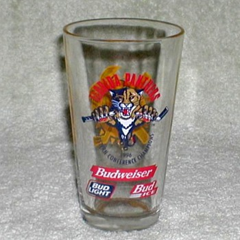 1996 - Budweiser / Florida Panthers Beer Glass - Breweriana