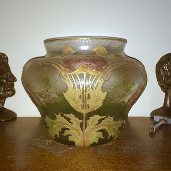 Huge Harrach for Legras Enamelled Acid Etched Gilt Bowl Vase