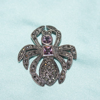 Sterling, Marcasite, and Amethyst Spider Pin