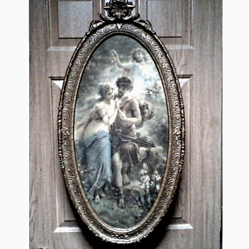 "Beautiful Victorian Neo Classical ""Chromo"" Print in Ornate Oval Barbola Frame /Unknown Artist / Circa early 1900's - Posters and Prints"