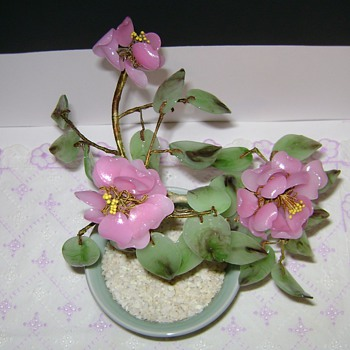 Pink and Green Glass Bonsai Tree