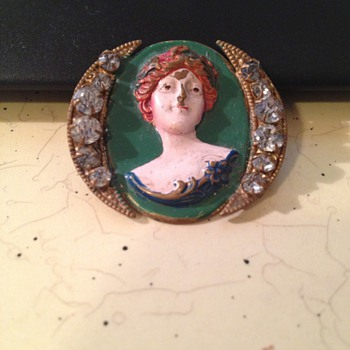 Hand painted bust with two crescent moons