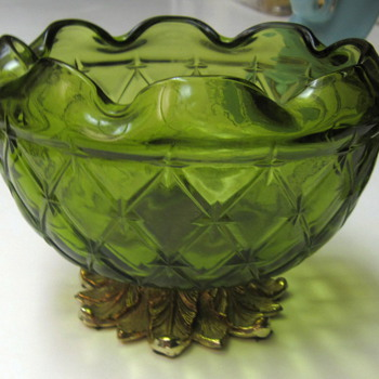 Vtg Green Footed Bowl