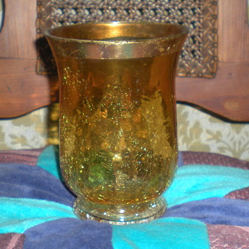 Bohemian art deco crackle glass vase. - Art Glass