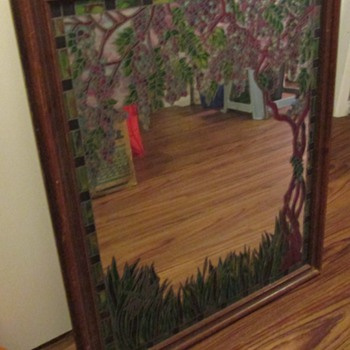 "Mirror with ""stained glass"" trim, and those incredible Tiffany lamps - Furniture"