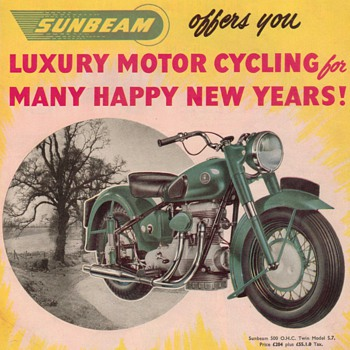 1950 Sunbeam Motorcycle Advertisement - Advertising