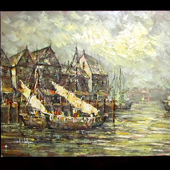 "Impresionism painting ""H Nelson""? boats - Europe?  - Visual Art"