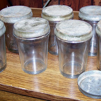 Antique Vacuum Packed Product Jars W Orig. Tin Lids