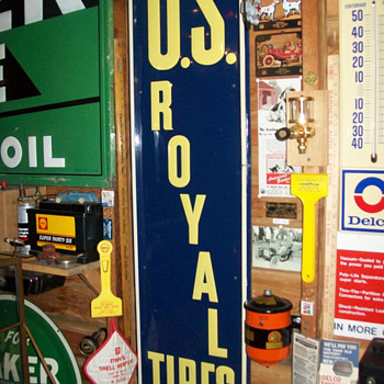 Shell Station and US royal tires sign
