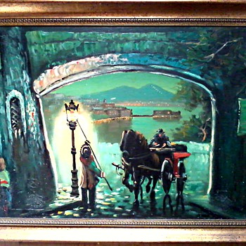 """The Lamp Lighter"" / Oil On Canvas 23"" x 31"" Framed / Circa 1960-70 - Visual Art"