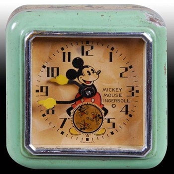 1933 Mickey Mouse Manual Wind Clock - Clocks