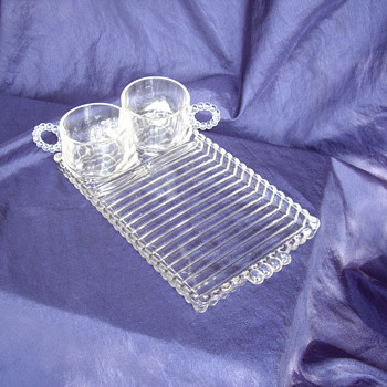 Imperial Candlewick Glass Snack Trays with Cups - Glassware