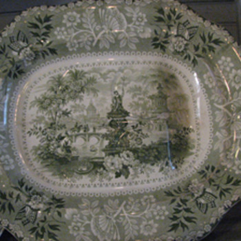 Identify the Name of This Green Transferware Pattern. - China and Dinnerware