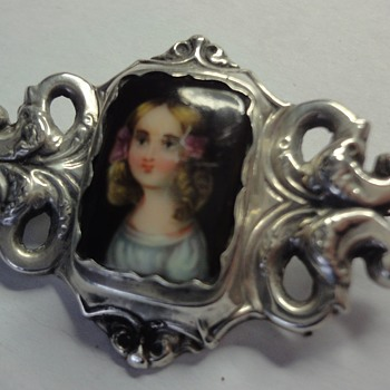 Georgean Enameled Portrait Enameled Silver brooch of little Girl